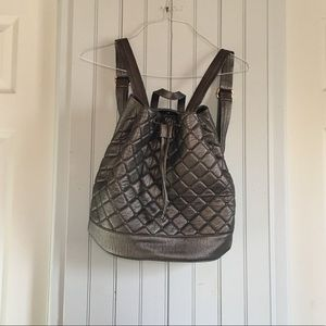 Deux lux quilted Metallic backpack